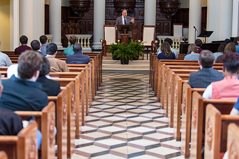 speaking inside hodges chapel
